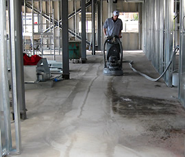 Concrete floor surface preparation.